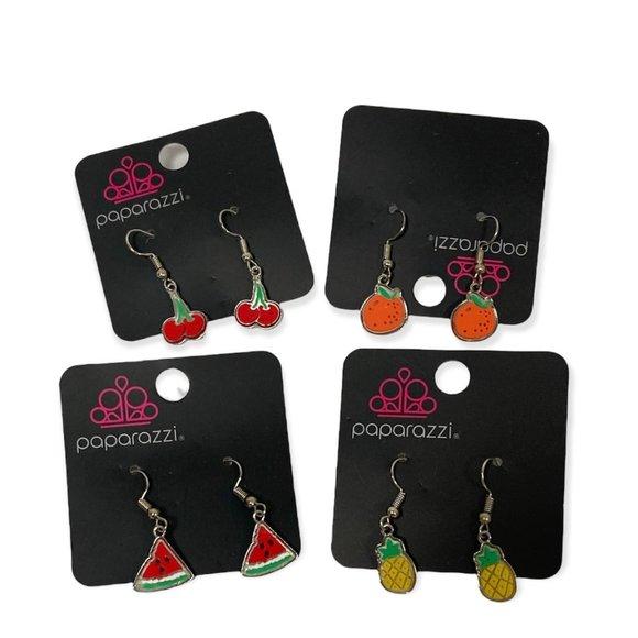 4 NWT Paparazzi Dangly Fruit Earrings | Pineapple Orange Cherry Watermelon |